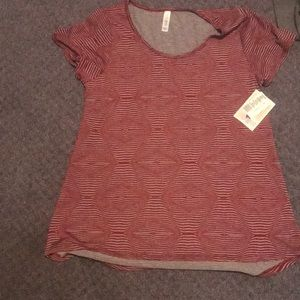 A new with tags red and gray striped Luluroe shirt